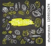 keto diet   ketogenic food... | Shutterstock .eps vector #1205012674