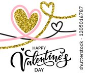 happy valentine's day lettering.... | Shutterstock .eps vector #1205016787