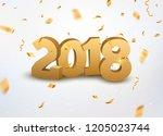 new year 2018 3d golden numbers ... | Shutterstock . vector #1205023744