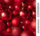 red christmas baubles... | Shutterstock . vector #1205038534