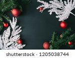 dark christmas table background ... | Shutterstock . vector #1205038744