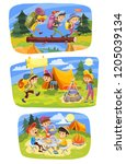 kids summer camping concept...   Shutterstock . vector #1205039134