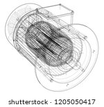 electric motor sketch. vector... | Shutterstock .eps vector #1205050417