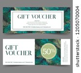 gift voucher template with leaf ... | Shutterstock .eps vector #1205070004