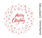 merry christmas and happy new... | Shutterstock .eps vector #1205077381