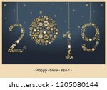 2018  happy new year greeting... | Shutterstock .eps vector #1205080144