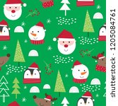 seamless cute christmas... | Shutterstock .eps vector #1205084761