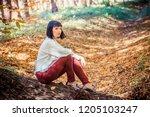 beautiful girl in the autumn... | Shutterstock . vector #1205103247
