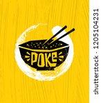 poke bowl hawaiian cuisine...   Shutterstock .eps vector #1205104231