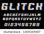 glitch alphabet. font with... | Shutterstock .eps vector #1205105407