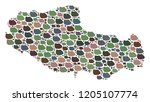 mosaic map of tibet chinese... | Shutterstock .eps vector #1205107774