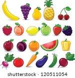 cartoon fruits and vegetables   Shutterstock .eps vector #120511054