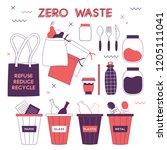 zero waste hand drawn elements... | Shutterstock .eps vector #1205111041