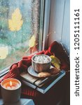 cozy autumn morning at home.... | Shutterstock . vector #1205111161