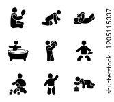 baby activities glyph icons  | Shutterstock .eps vector #1205115337