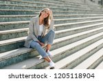 beautiful young caucasian woman ... | Shutterstock . vector #1205118904