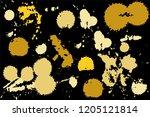hand drawn set of golden ink...   Shutterstock .eps vector #1205121814