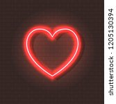 vector neon shining heart ... | Shutterstock .eps vector #1205130394