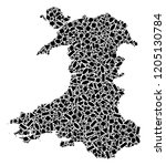 mosaic map of wales formed with ...   Shutterstock .eps vector #1205130784