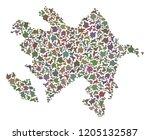 mosaic map of azerbaijan... | Shutterstock .eps vector #1205132587