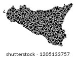 mosaic map of sicilia island...   Shutterstock .eps vector #1205133757
