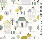 seamless pattern with houses... | Shutterstock .eps vector #1205137354
