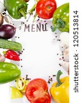 menu surrounded by products and ...   Shutterstock . vector #120513814