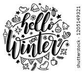 handwritten lettering of hello...   Shutterstock .eps vector #1205149321