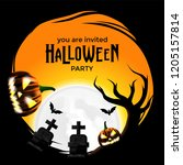 halloween invitation party with ... | Shutterstock .eps vector #1205157814