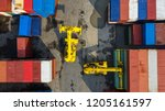container ship in export and... | Shutterstock . vector #1205161597