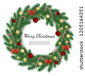 christmas wreath isolated on... | Shutterstock .eps vector #1205164351