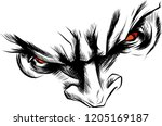 vector face demon with angry...   Shutterstock .eps vector #1205169187