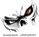 Skull With Red Eyes Cartoon...
