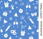 seamless pattern with new year... | Shutterstock .eps vector #1205175661