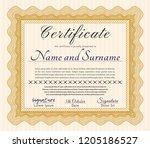 orange certificate diploma or... | Shutterstock .eps vector #1205186527