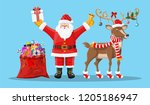 santa claus with bell  bag full ... | Shutterstock .eps vector #1205186947