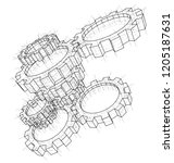 3d gears. vector rendering of... | Shutterstock .eps vector #1205187631