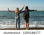two joyful girls on the...   Shutterstock . vector #1205188177