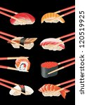 sushi with chopsticks isolated... | Shutterstock .eps vector #120519925