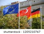 three waving flags. european...   Shutterstock . vector #1205210767