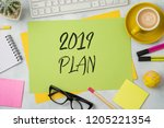2019 plan text on colorful... | Shutterstock . vector #1205221354