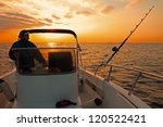 fishing boat and fisherman in... | Shutterstock . vector #120522421