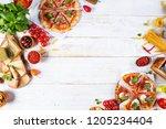 various kind of italian food... | Shutterstock . vector #1205234404