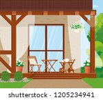 vector illustration. veranda... | Shutterstock .eps vector #1205234941