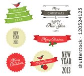 set of vintage christmas labels ... | Shutterstock .eps vector #120524125