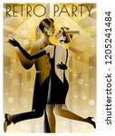 dancing couples at a party in... | Shutterstock .eps vector #1205241484