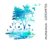 abstract blue landscape... | Shutterstock .eps vector #1205249701