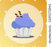 blue cupcake with wafer sticks... | Shutterstock .eps vector #1205273041