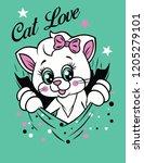 cute cat  t shirt graphics ... | Shutterstock .eps vector #1205279101