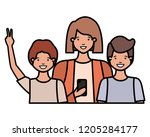 family smiling and waving... | Shutterstock .eps vector #1205284177